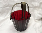 Vintage Ruby Red Glass  Ice Bucket and Ice Tongs