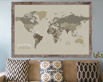 Push Pin Map, Large FRAMED Map, 24X36 Inches, World Travel, Home Office decor, Gift for husband,Travel Map