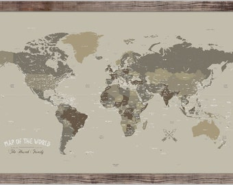 Push Pin Map 20X30 Inches  Framed World Map World Map Wedding Travel Map Valentines Day Gift Home Office Decor Neutral Map