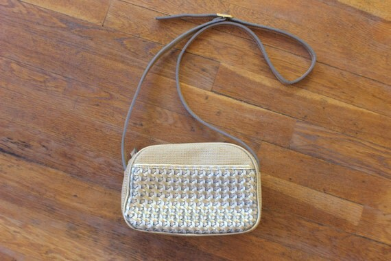Metallic Purse / Vintage Gold and Silver Basket Handbag / Cross Body Bag