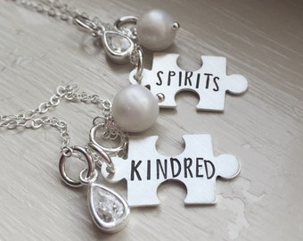 Best Friends Necklace Set of Two Puzzle Piece Kindred Spirits Pearl CZ charm jewelry personalized