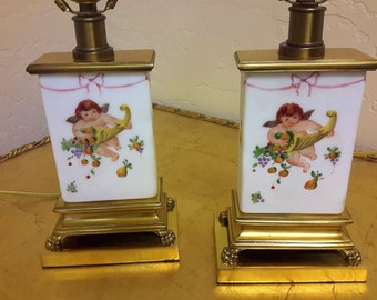 PAIR 1930's Lamps Porcelain Cherubs Hand Decorated Footed Brass Paw With Shades Boudoir Bedside Lamp Rewired Excellent Working Condition