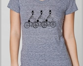 Women's T shirt Three Skeletons on Bikes American Apparel S, M, L, XL 8 COLORS