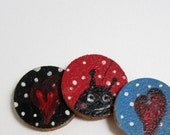 Fridge magnets, set of 3, hand painted tiny paintings, home decor, kitchen decor, mixed media, ladybug, heart magnet, polka dots, wax coated