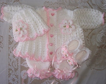 Crochet Baby Girl Pink Sweater Set Layette with Ruffled Leggings and Booties or Feety Pants Perfect for Baby Shower Gift or Take Home Outfit