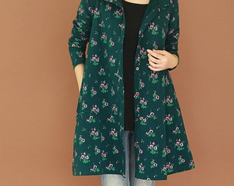 women cotton Floral coat lapel long sleeved large size Long sleeve coat