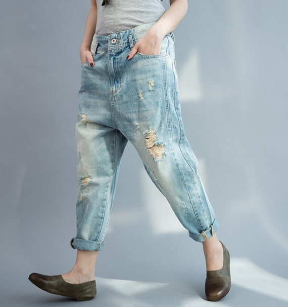 Awesome Loose Fitting Linen Turnip Pants Jeans  Denim Blue  Women Pants