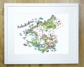 Pembrokeshire Sir Benfro Map Print.  Hand painted illustrated map. Wales Welsh Cymru Welsh Language. Patriotic. Map of Wales. County. 16x12