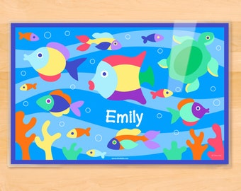 Kids Personalized Something Fishy Placemat, Kids Placemat, Fish Placemat, Ocean Placemat, Laminated Placemat