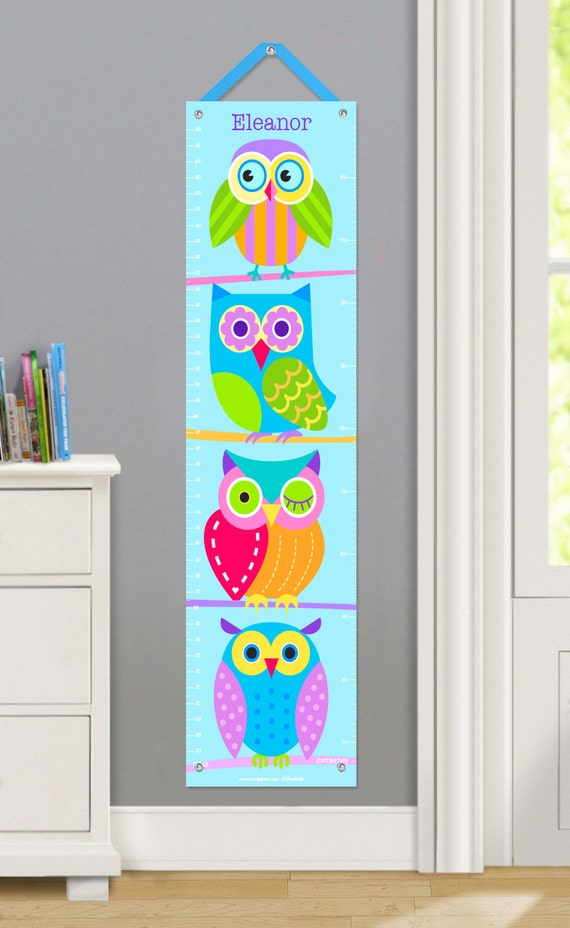 Kids personalized owls canvas growth chart kids bedroom for Personalized kids room decor