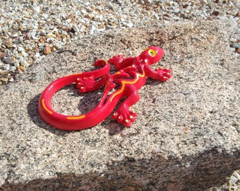 Cast Iron Gecko, Lizard, Home Decor, Garden Decor, Red, Yellow and Orange