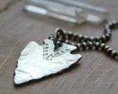 Men's Personalized Arrowhead Necklace, Fine Silver, Rugged And Masculine, Men's Arrow Necklace - Scott Necklace