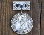Vintage Soviet aluminum badge,pin.