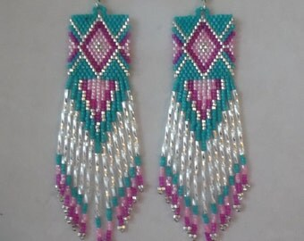 Native American Style  Beaded Diamond Rug Earrings Turquoise Hot Pink Light Pink and Silver Southwestern Boho, Geometric, Brick Stitch,