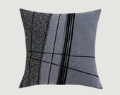 """Decorative Pillow case,  Abstract design Throw pillow cover, Grey, Black, Silver colors, fits 18""""x18"""" insert, Toss pillow case, Cushion case"""