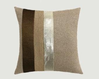 "Decorative Pillow Case, Decorative  Light Brown Throw pillow case with Gold fabrics accent, 18"" x 18"",  Cushion case, Toss pillow case."