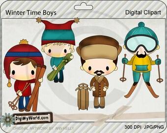 Boy Skier,Skiing, Toboggan,, Winter, Christmas, adorable Clipart and graphics