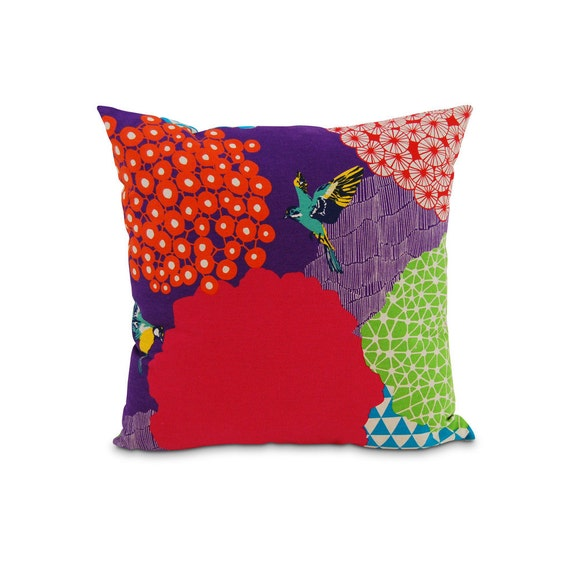 In the Garden Geometric Modern Bird Square Pillow Purple Red