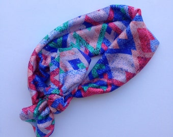 Colorful aztec baby knotted headband
