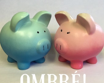Personalized Piggy bank Ombre