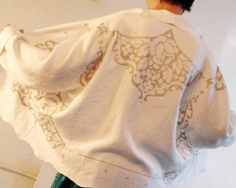 Women's wearable art jacket of upcycled vintage linen tablecloth, embroidered refashioned