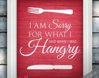 Hangry Print - Hangry Art - Kitchen Print - Kitchen Art - Dining Room Print - Dining Room Art - Funny Quote - Custom Color