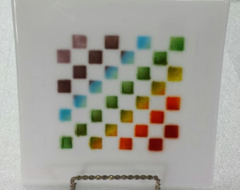 Fused plate with multicolored squares