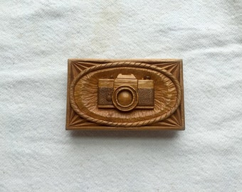c. 1976 35mm camera belt buckle vintage hand carved wood from 1976 signed