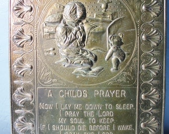 Vintage Elpec Hammered Brass Embossed A Childs Prayer Wall Plaque