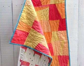 """Organic Sunset Tumblers Quilt - Hand Dyed Organic Cotton, 38"""" x 56"""" Crib Quilt with Daddy Rhino Backing"""