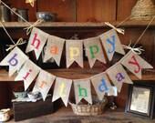Burlap Happy Birthday Banner, Colorful Birthday Bunting, Birthday Garland, Birthday Garland, Birthday Banner, Burlap Bunting, Happy Burlap