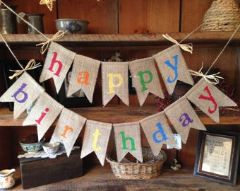 Burlap Happy Birthday Banner, Colorful Birthday Bunting, Birthday Garland, Birthday Garland, Birthday Banner, Burlap Bunting, Happy Burlap