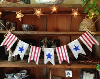 Stars and Stripes Burlap Bunting, Patriotic Bunting, 4th of July Bunting, Patriotic Banner, Stars and Stripes Banner, Holiday Bunting