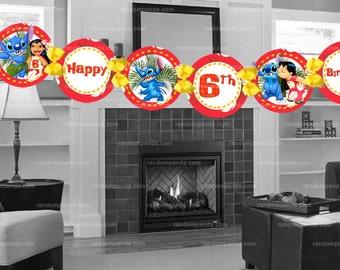 YOU PRINT Lilo and Stitch Birthday Banner, DIGITAL Lilo and Stitch Party Banner