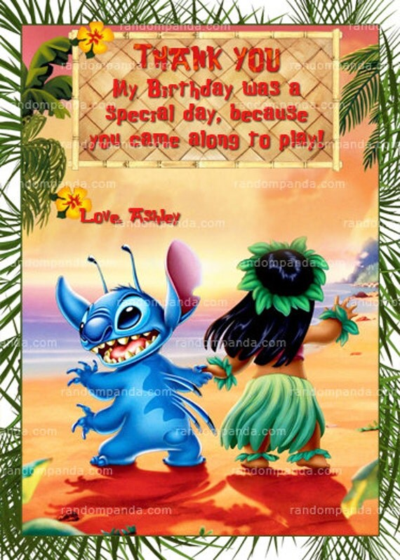 Lilo And Stitch Thank You Card Lilo And Stitch Party