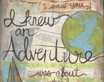 Adventure awaits 8x8 Mixed Media Art Print