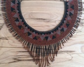 GUERRERA Fringe Necklace / Beaded Necklace / Collar / Statement Necklace / Tribal Jewelry / Guatemalan / Boho / Ethnic / Rust Brown-Black