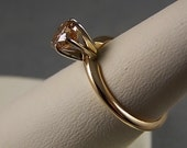 Cognac Diamond Solitaire Ring.75Carats 2.4gm Size 6 Classic 6 Prong Mounting