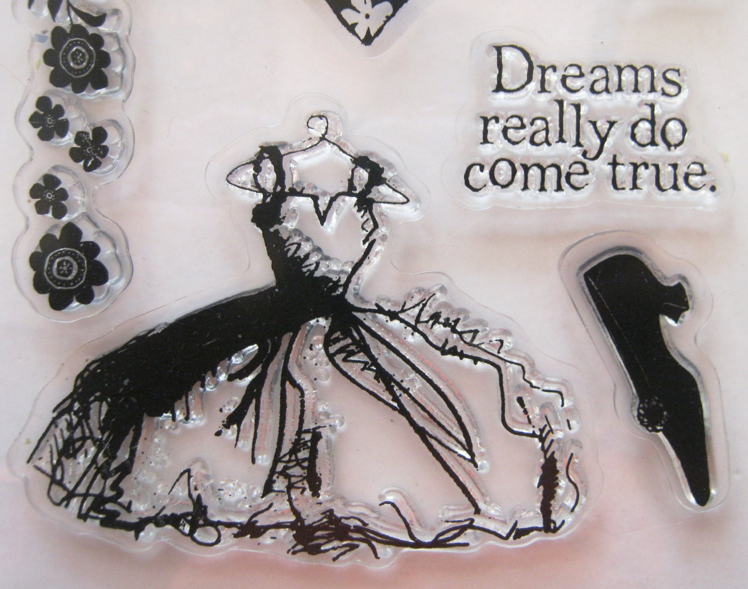 Inkadinkado clear stamps set wedding dress dreams princess for Wedding dress rubber stamp
