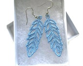 Chic Charms - Feather (Lace) Earrings - Machine Embroidered Earrings