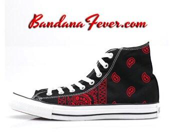 "Hi Black ""OG Red Bandana Sides"" by Bandana Fever"