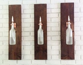 4 Wine Bottle Oil Lamps (frosted) - INDOOR - Gift for Her - Hanging Lantern - Wall Lamp - Light Sconce - Modern Lighting