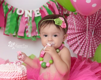 Watermelon Theme - Hot Pink, Pink and Lime Green Headband - perfect for photo shoots, birthdays, everyday wear and for all ages