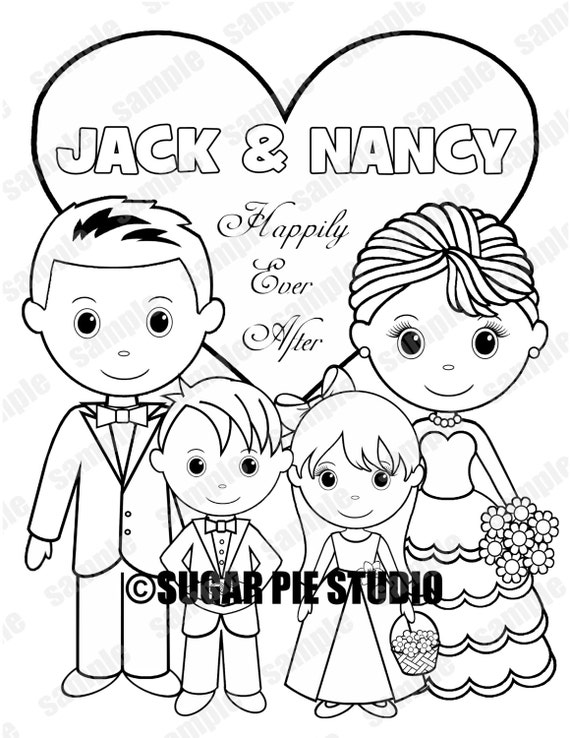Personalized printable bride groom flower girl ring bearer for Groom coloring pages