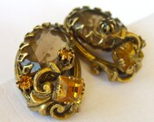 Vintage Amber Glass Rhinestone Earrings Patented 1950s Clip Backs