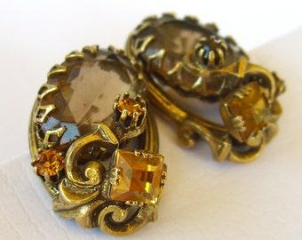 Vintage Amber Glass Rhinestone Earrings, Patented 1950s Clip Backs