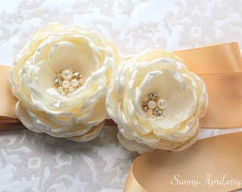 Ivory Gold Double Flower Wedding Ribbon Sash/ Handmade Accessory
