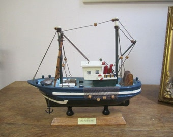 Fishing Trawler Model. Model Boat Home Decor. Fishing Boat Model. Nautical Home Decor