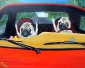 "Pug Art Print of an original oil painting - ""Road Rage""- 8 x 10 - Dog Art"