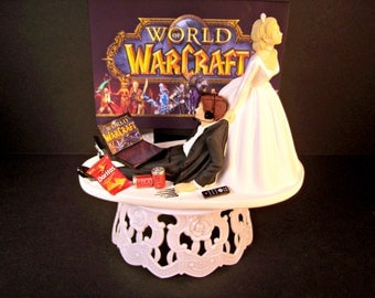 World of Warcraft Video Game Bride and Groom HeadPhones Laptop Computer WOW Funny Wedding Cake Topper